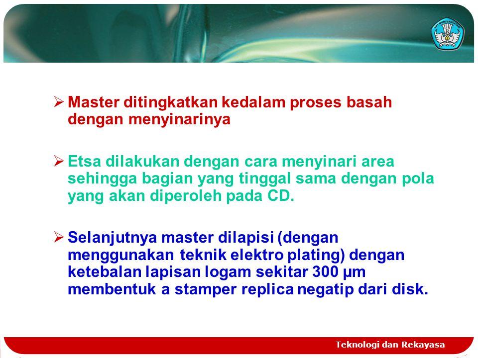 Teknologi dan Rekayasa  Master ditingkatkan kedalam proses basah dengan menyinarinya  Etsa dilakukan dengan cara menyinari area sehingga bagian yang