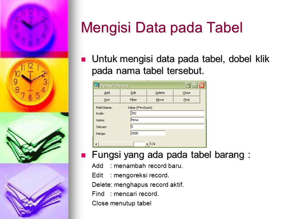 Mengisi Data pada Tabel Untuk mengisi data pada tabel, dobel klik pada nama tabel tersebut. Untuk mengisi data pada tabel, dobel klik pada nama tabel