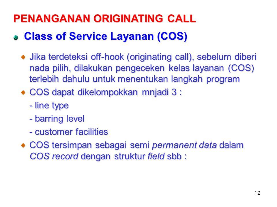 12 Class of Service Layanan (COS) PENANGANAN ORIGINATING CALL Jika terdeteksi off-hook (originating call), sebelum diberi nada pilih, dilakukan pengec