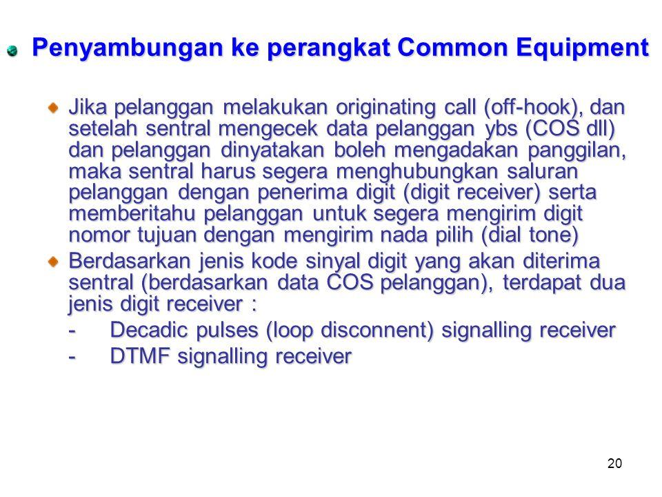 20 Penyambungan ke perangkat Common Equipment Jika pelanggan melakukan originating call (off-hook), dan setelah sentral mengecek data pelanggan ybs (C