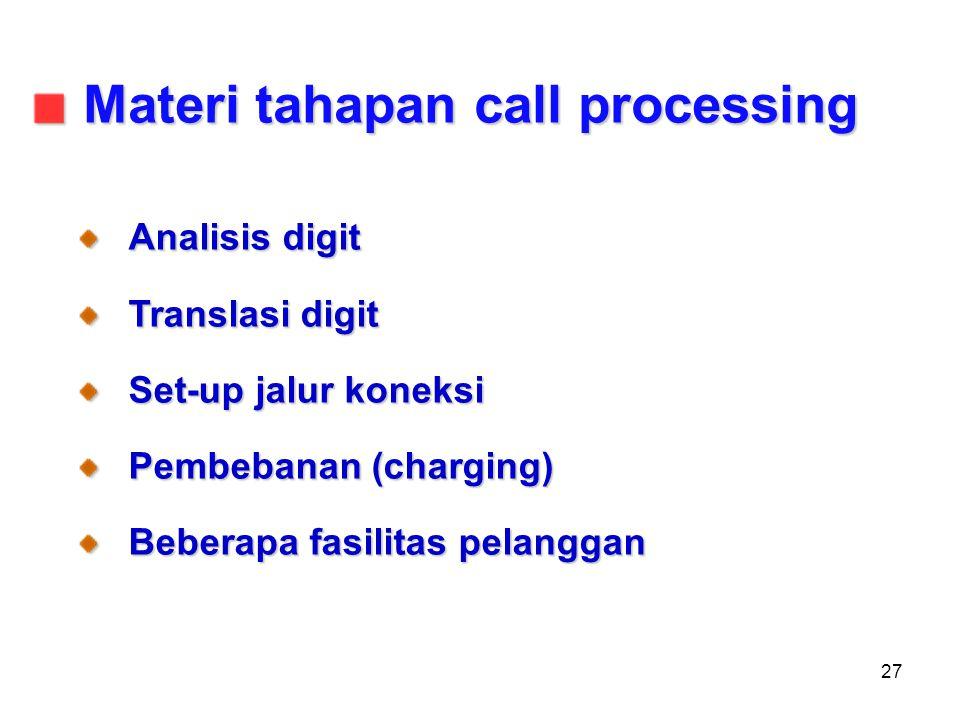 27 Analisis digit Translasi digit Set-up jalur koneksi Pembebanan (charging) Beberapa fasilitas pelanggan Materi tahapan call processing