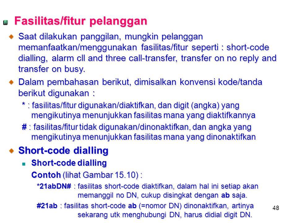 48 Fasilitas/fitur pelanggan Saat dilakukan panggilan, mungkin pelanggan memanfaatkan/menggunakan fasilitas/fitur seperti : short-code dialling, alarm