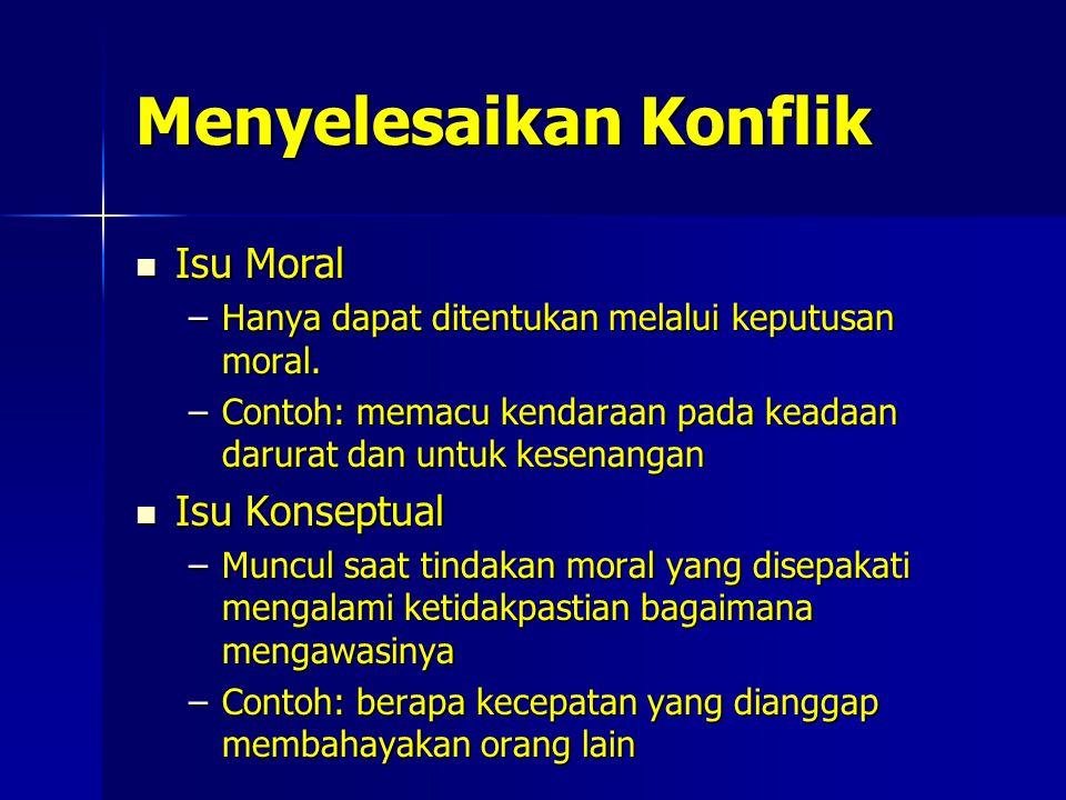 Menyelesaikan Konflik Isu Moral Isu Moral –Hanya dapat ditentukan melalui keputusan moral.
