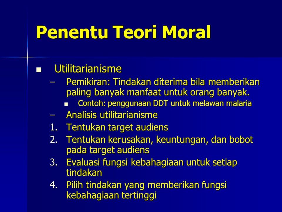 Penentu Teori Moral Utilitarianisme Utilitarianisme –Pemikiran: Tindakan diterima bila memberikan paling banyak manfaat untuk orang banyak.