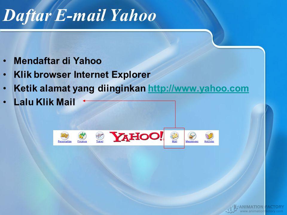 Mengenal E-mail Email Adalah sebuah fasilitas di internet untuk surat menyurat seperti layaknya surat menyurat pada jasa Pos, Sebelum menggunakan fasilitas di Email yang ada di yahoo terlebih dahulu kita harus memiliki account di yahoo dengan cara mendaftar terlebih dahulu.
