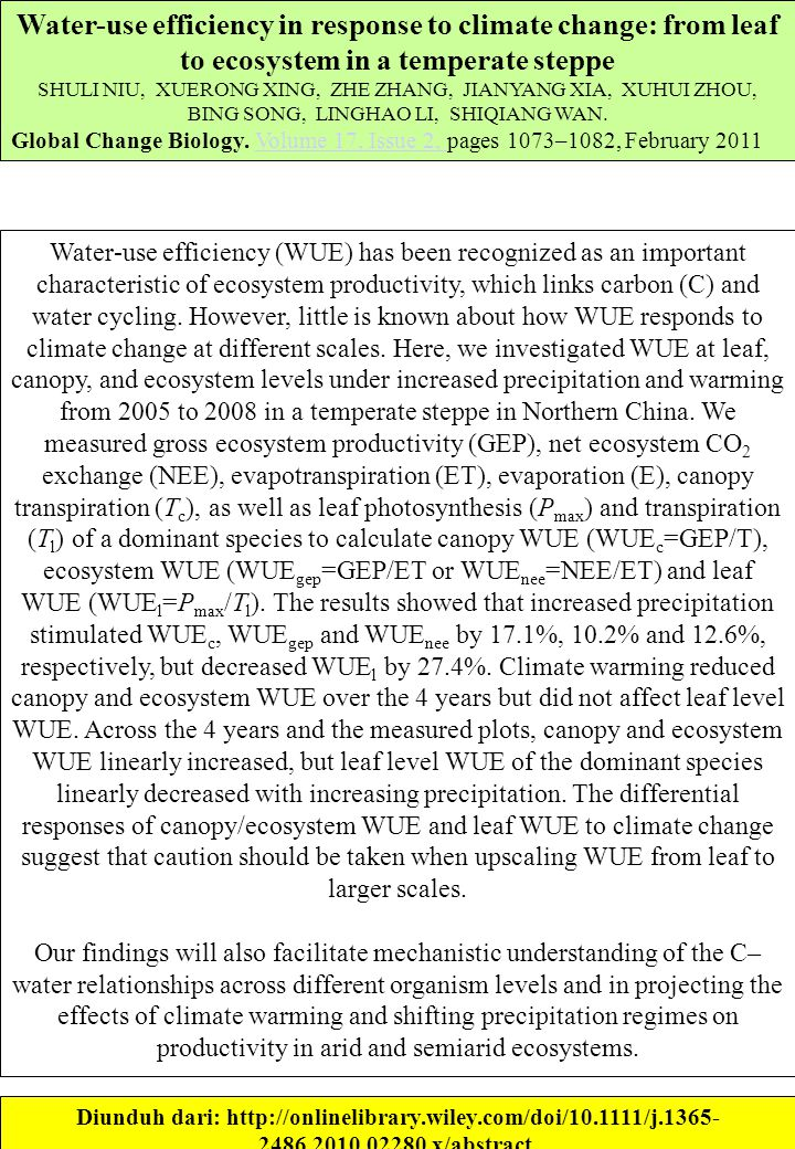 Water-use efficiency in response to climate change: from leaf to ecosystem in a temperate steppe SHULI NIU, XUERONG XING, ZHE ZHANG, JIANYANG XIA, XUHUI ZHOU, BING SONG, LINGHAO LI, SHIQIANG WAN.