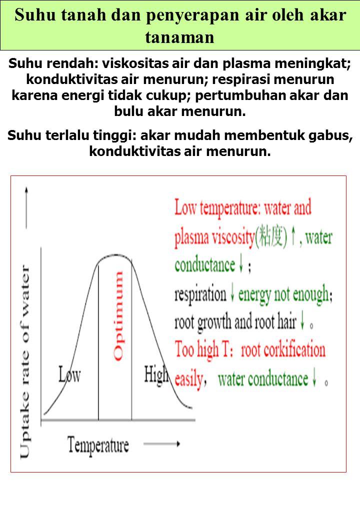 Suhu tanah dan penyerapan air oleh akar tanaman Suhu rendah: viskositas air dan plasma meningkat; konduktivitas air menurun; respirasi menurun karena