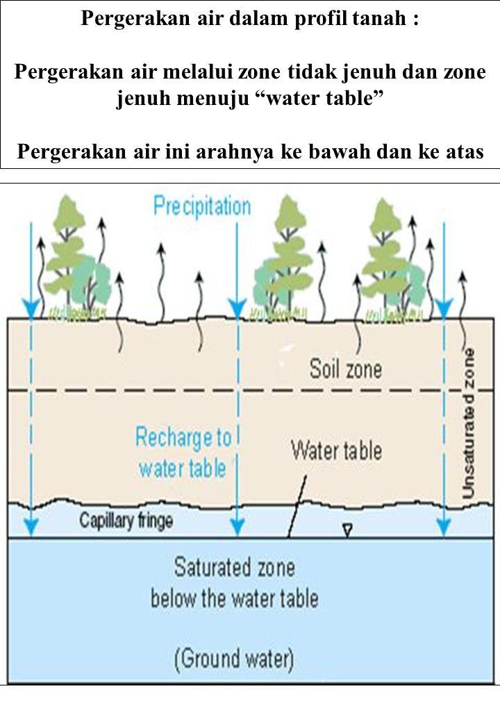 """Pergerakan air dalam profil tanah : Pergerakan air melalui zone tidak jenuh dan zone jenuh menuju """"water table"""" Pergerakan air ini arahnya ke bawah da"""