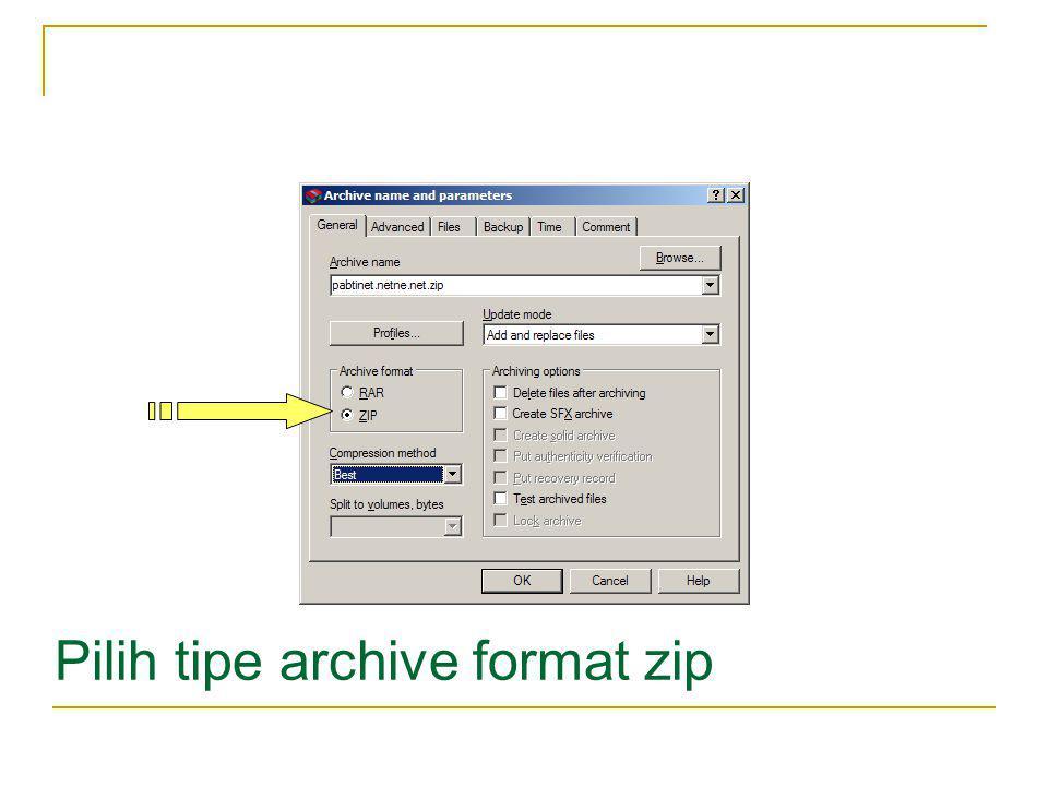 Pilih tipe archive format zip