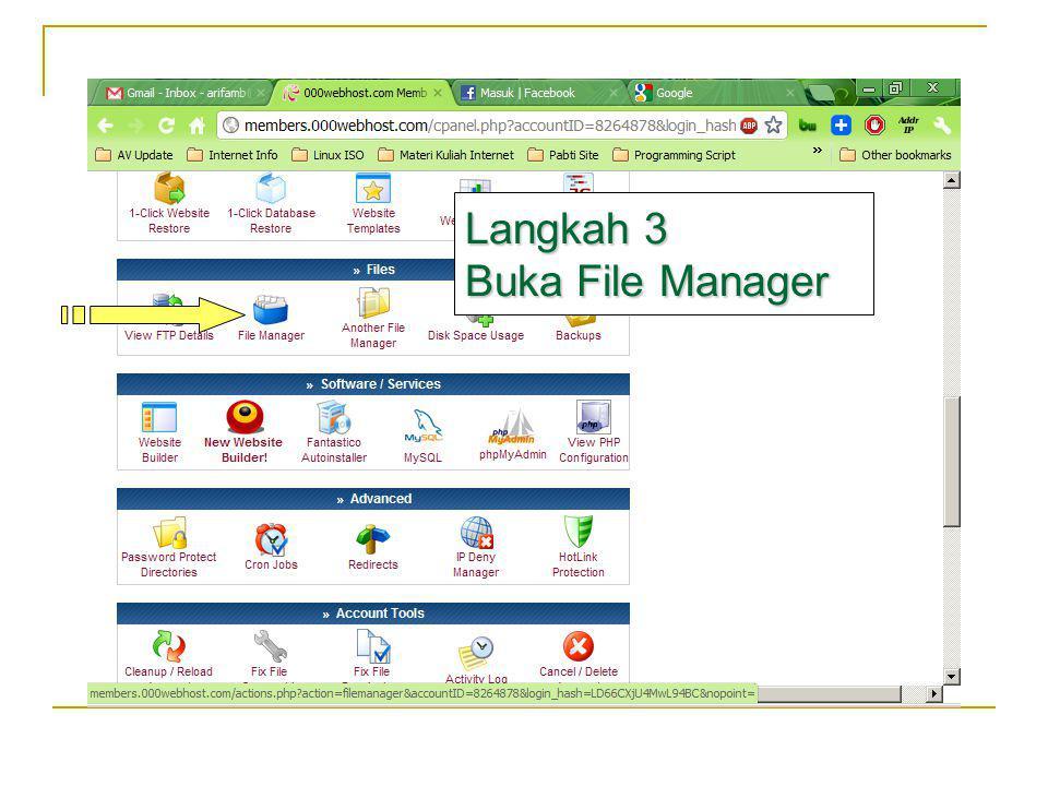 Tampilan File Manager