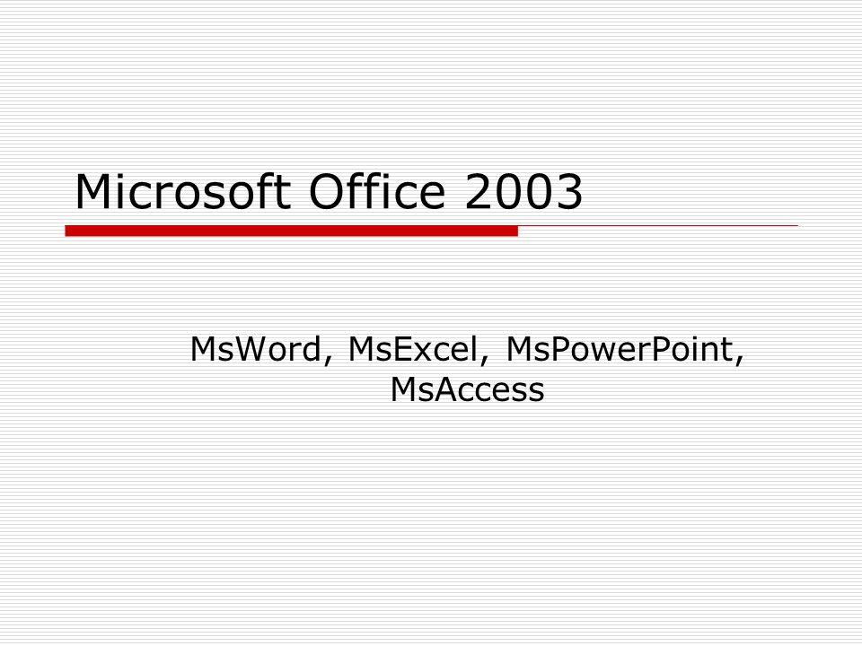 Microsoft Office 2003 MsWord, MsExcel, MsPowerPoint, MsAccess