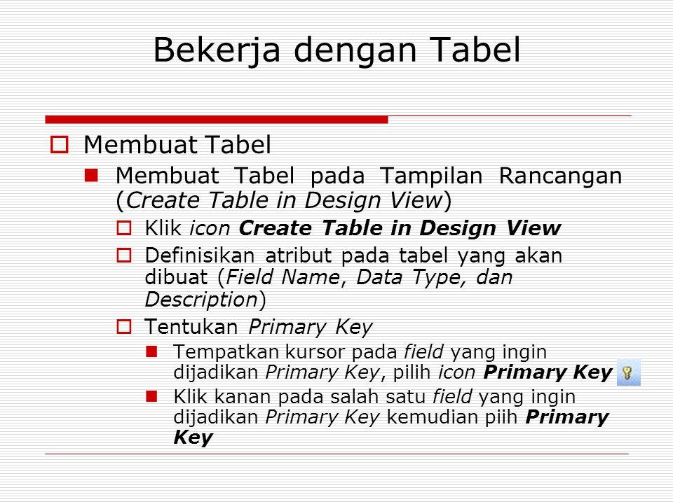 Bekerja dengan Tabel  Membuat Tabel Membuat Tabel pada Tampilan Rancangan (Create Table in Design View)  Klik icon Create Table in Design View  Def