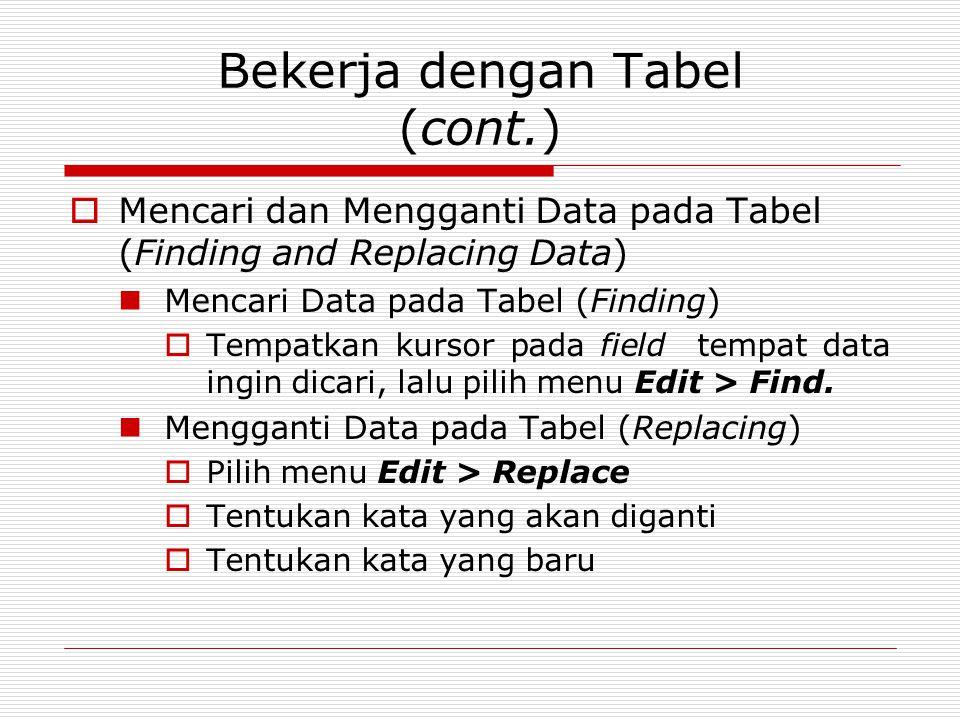 Bekerja dengan Tabel (cont.)  Mencari dan Mengganti Data pada Tabel (Finding and Replacing Data) Mencari Data pada Tabel (Finding)  Tempatkan kursor