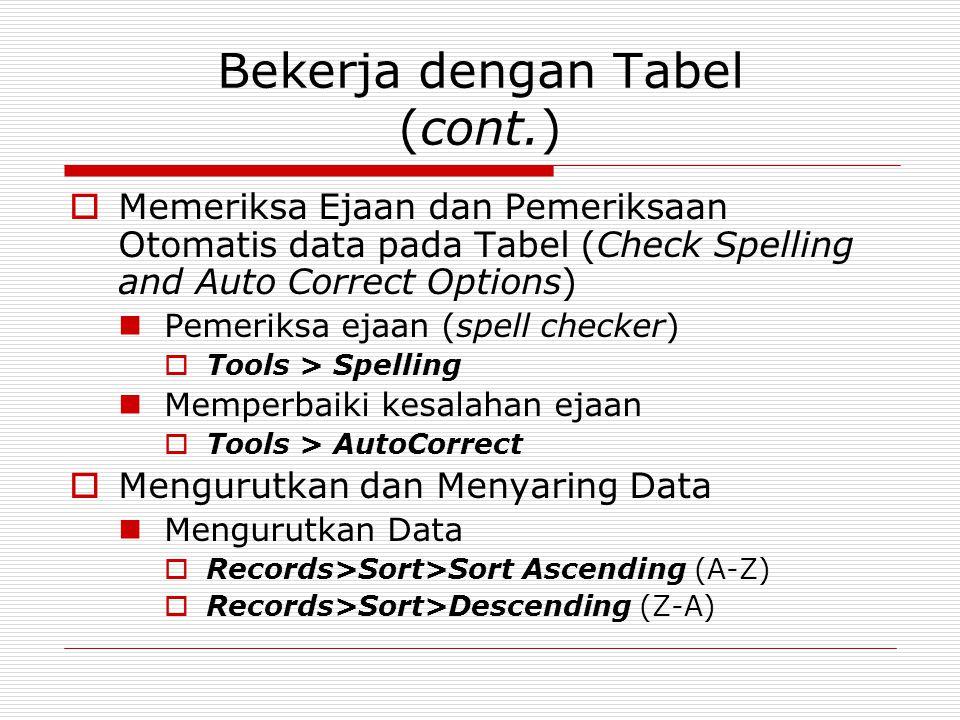Bekerja dengan Tabel (cont.)  Memeriksa Ejaan dan Pemeriksaan Otomatis data pada Tabel (Check Spelling and Auto Correct Options) Pemeriksa ejaan (spe