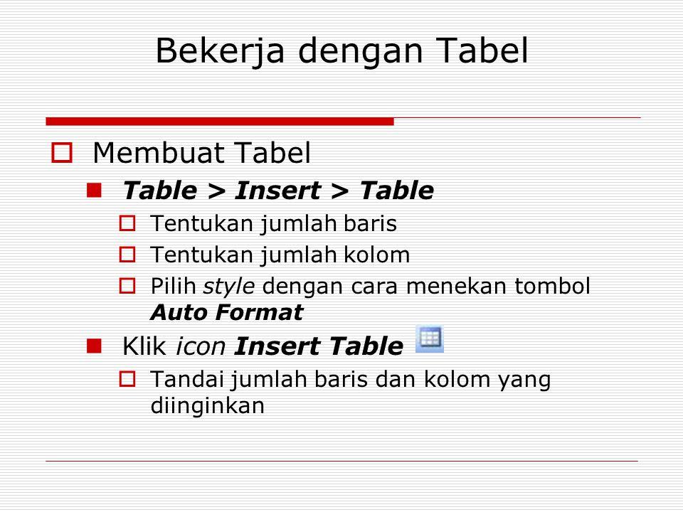 Bekerja dengan Tabel  Membuat Tabel Table > Insert > Table  Tentukan jumlah baris  Tentukan jumlah kolom  Pilih style dengan cara menekan tombol A