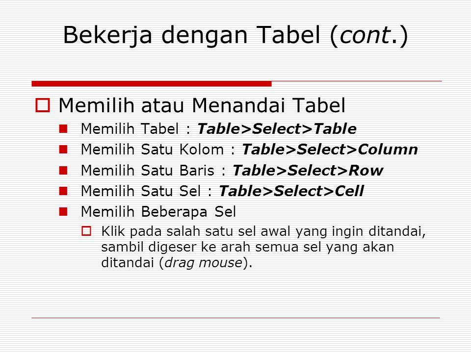 Bekerja dengan Tabel (cont.)  Memilih atau Menandai Tabel Memilih Tabel : Table>Select>Table Memilih Satu Kolom : Table>Select>Column Memilih Satu Ba
