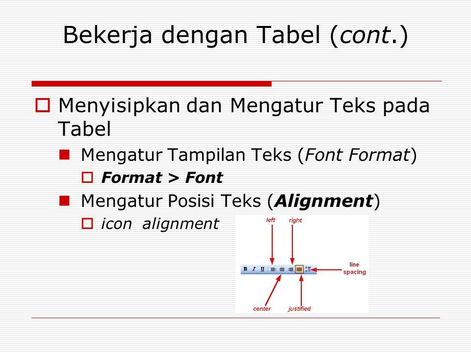 Bekerja dengan Tabel (cont.)  Menyisipkan dan Mengatur Teks pada Tabel Mengatur Tampilan Teks (Font Format)  Format > Font Mengatur Posisi Teks (Ali