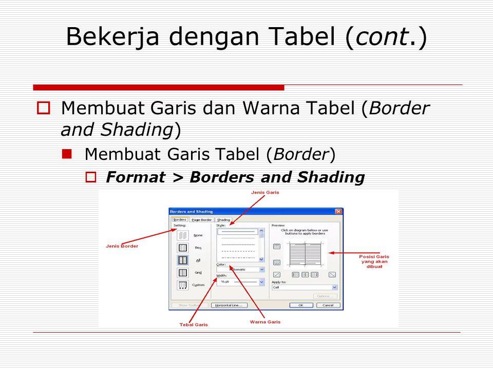 Bekerja dengan Tabel (cont.)  Membuat Garis dan Warna Tabel (Border and Shading) Membuat Garis Tabel (Border)  Format > Borders and Shading