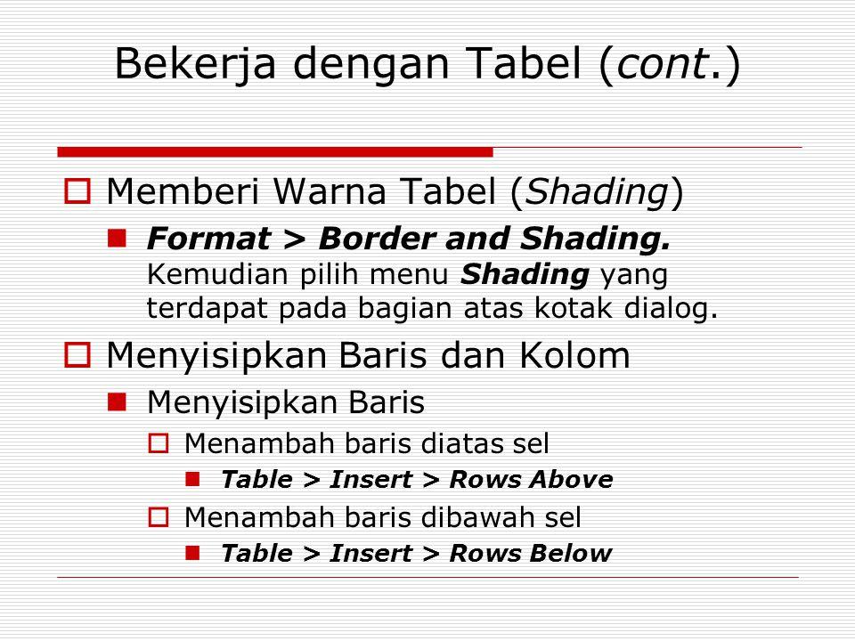 Bekerja dengan Tabel (cont.)  Memberi Warna Tabel (Shading) Format > Border and Shading. Kemudian pilih menu Shading yang terdapat pada bagian atas k