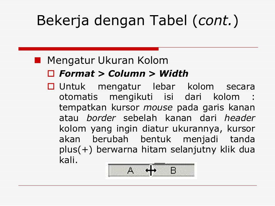Bekerja dengan Tabel (cont.) Mengatur Ukuran Kolom  Format > Column > Width  Untuk mengatur lebar kolom secara otomatis mengikuti isi dari kolom : t