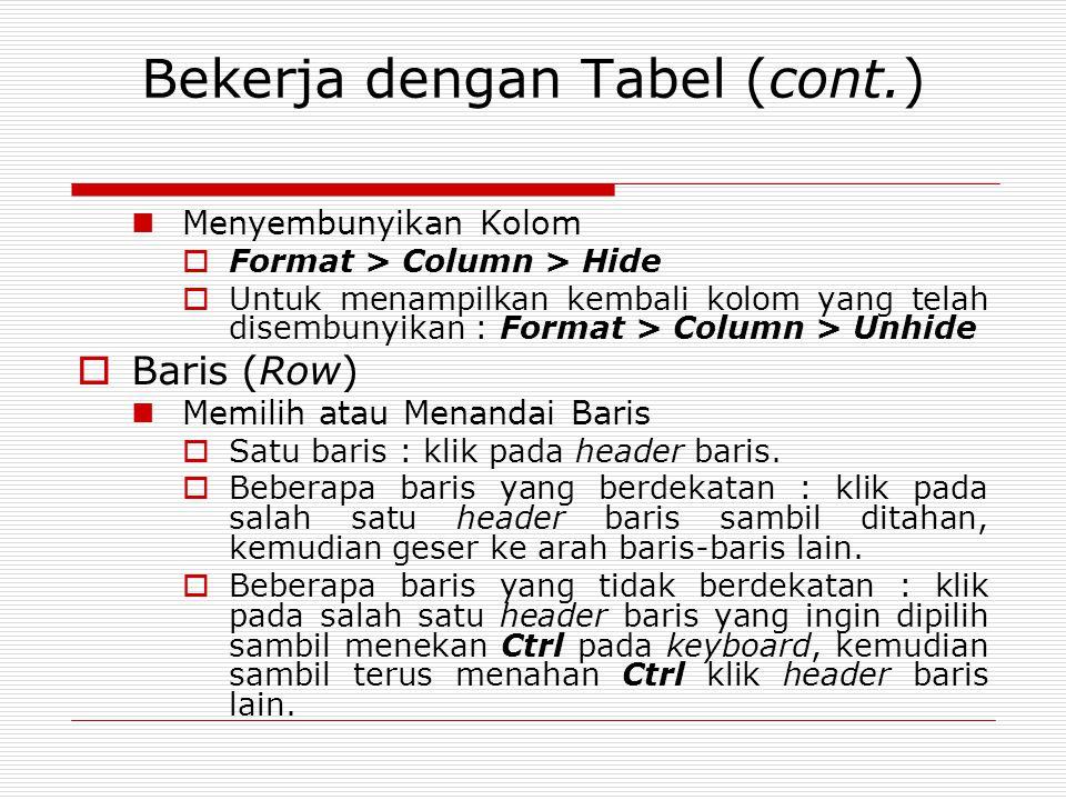 Bekerja dengan Tabel (cont.) Menyembunyikan Kolom  Format > Column > Hide  Untuk menampilkan kembali kolom yang telah disembunyikan : Format > Colum