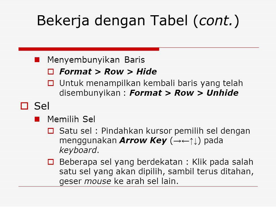 Bekerja dengan Tabel (cont.) Menyembunyikan Baris  Format > Row > Hide  Untuk menampilkan kembali baris yang telah disembunyikan : Format > Row > Un