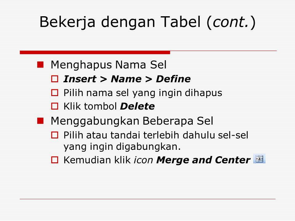 Bekerja dengan Tabel (cont.) Menghapus Nama Sel  Insert > Name > Define  Pilih nama sel yang ingin dihapus  Klik tombol Delete Menggabungkan Bebera
