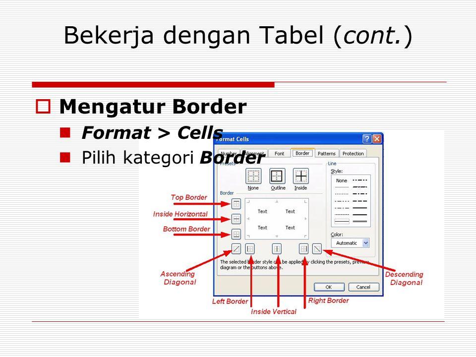 Bekerja dengan Tabel (cont.)  Mengatur Border Format > Cells Pilih kategori Border