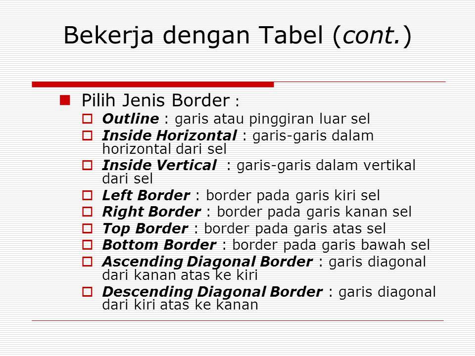 Bekerja dengan Tabel (cont.) Pilih Jenis Border :  Outline : garis atau pinggiran luar sel  Inside Horizontal : garis-garis dalam horizontal dari se