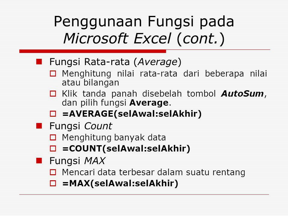 Penggunaan Fungsi pada Microsoft Excel (cont.) Fungsi Rata-rata (Average)  Menghitung nilai rata-rata dari beberapa nilai atau bilangan  Klik tanda