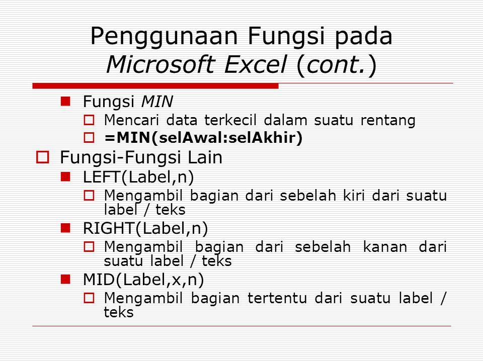 Penggunaan Fungsi pada Microsoft Excel (cont.) Fungsi MIN  Mencari data terkecil dalam suatu rentang  =MIN(selAwal:selAkhir)  Fungsi-Fungsi Lain LE