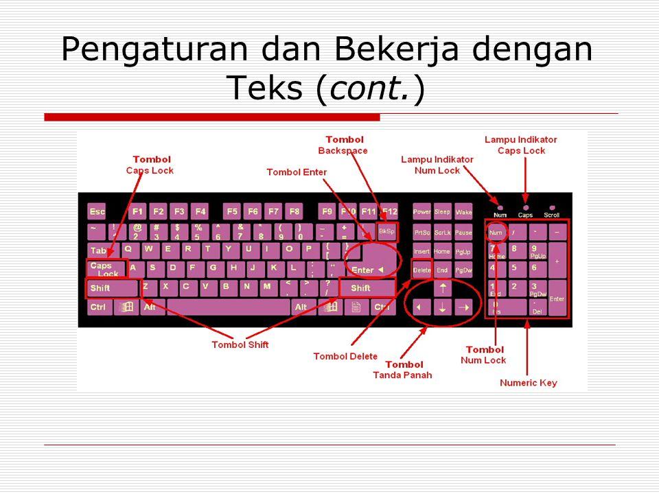  Huruf Besar Caps Lock Shift bersamaan dengan huruf Contoh : Shift + B  Spasi : Space Bar  Pindah Baris : Enter  Memindahkan Posisi Kursor : arrow key( ↓↑→← )