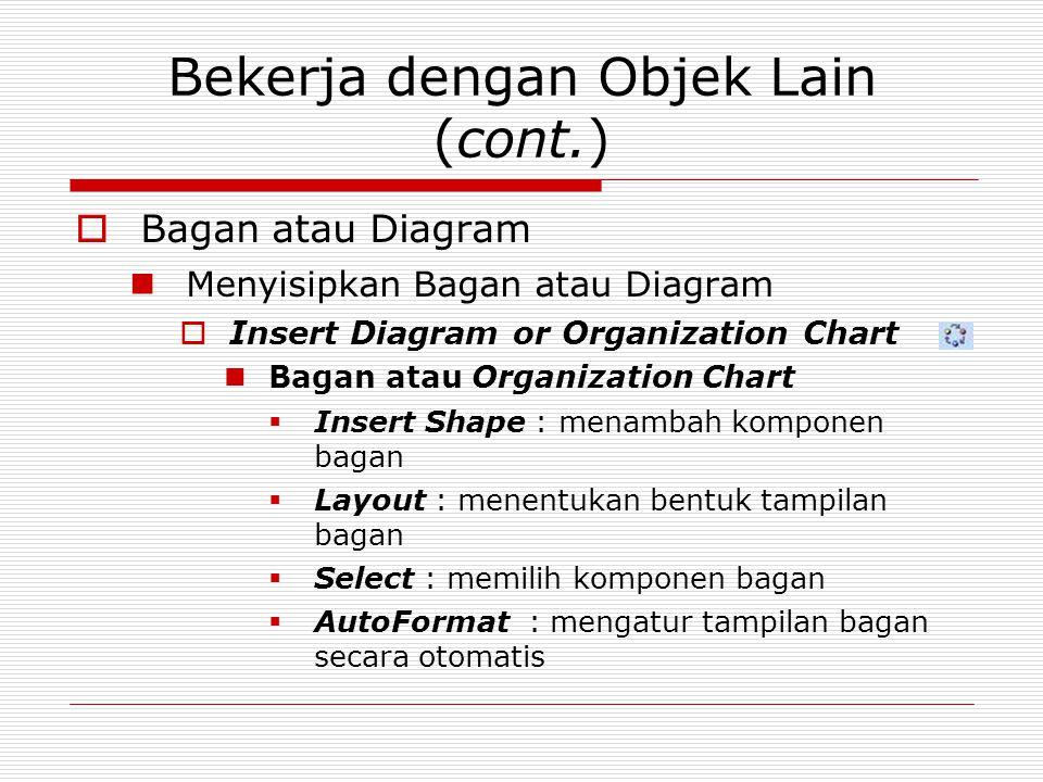 Bekerja dengan Objek Lain (cont.)  Bagan atau Diagram Menyisipkan Bagan atau Diagram  Insert Diagram or Organization Chart Bagan atau Organization C