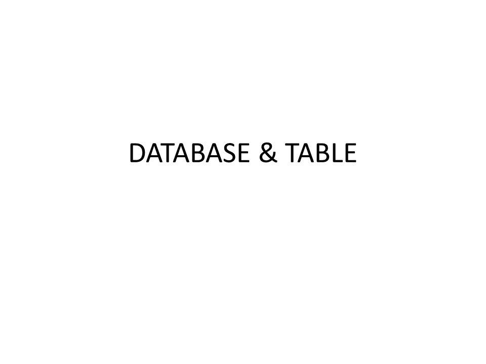 DATABASE & TABLE