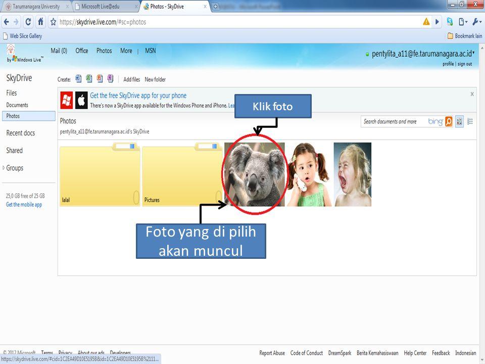 pilih Photo Klik Add files Pilih picture yang ingin anda masukan Klik open Foto yang di pilih akan muncul Klik foto