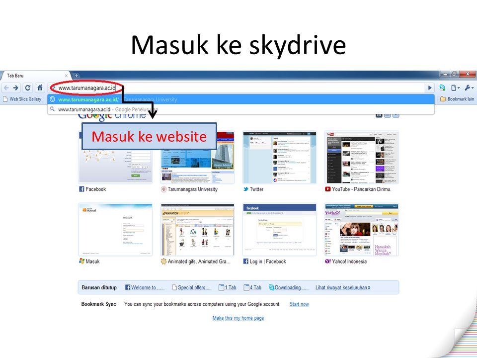 Masuk ke skydrive Masuk ke website