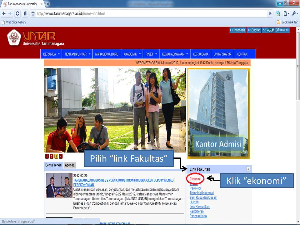 Pilih link Fakultas Klik ekonomi