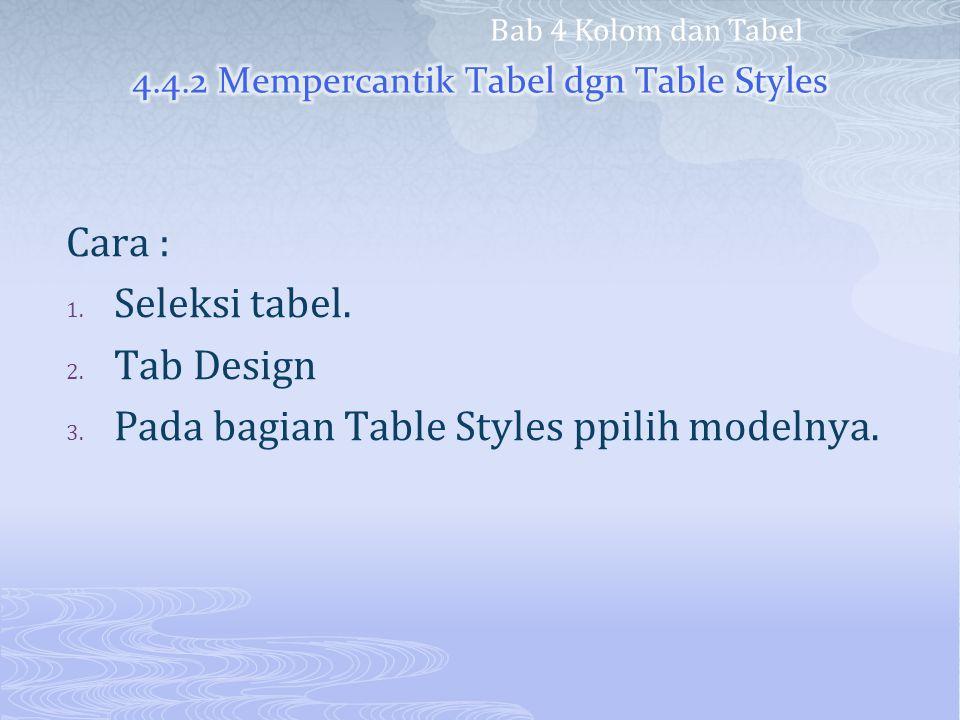 Cara : 1. Seleksi tabel. 2. Tab Design 3. Pada bagian Table Styles ppilih modelnya. Bab 4 Kolom dan Tabel