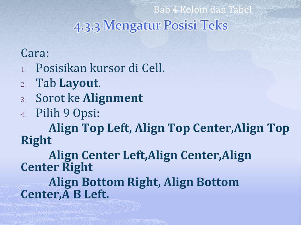 Cara: 1. Posisikan kursor di Cell. 2. Tab Layout. 3. Sorot ke Alignment 4. Pilih 9 Opsi: Align Top Left, Align Top Center,Align Top Right Align Center