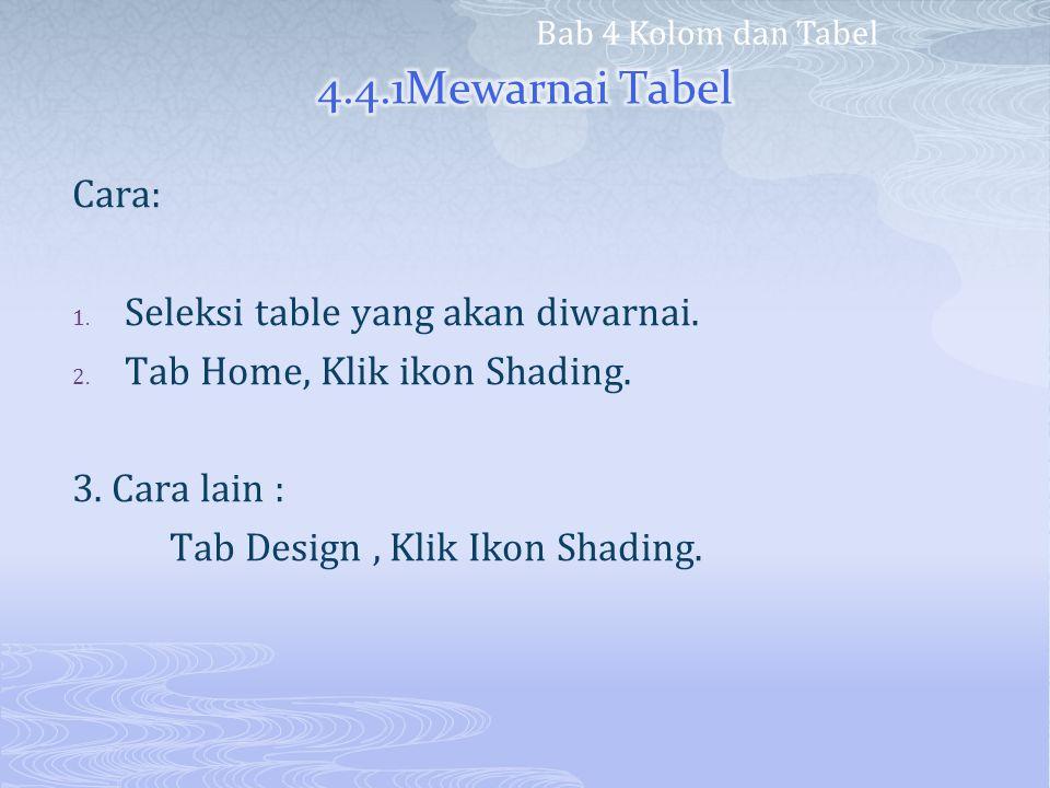Cara: 1. Seleksi table yang akan diwarnai. 2. Tab Home, Klik ikon Shading. 3. Cara lain : Tab Design, Klik Ikon Shading. Bab 4 Kolom dan Tabel