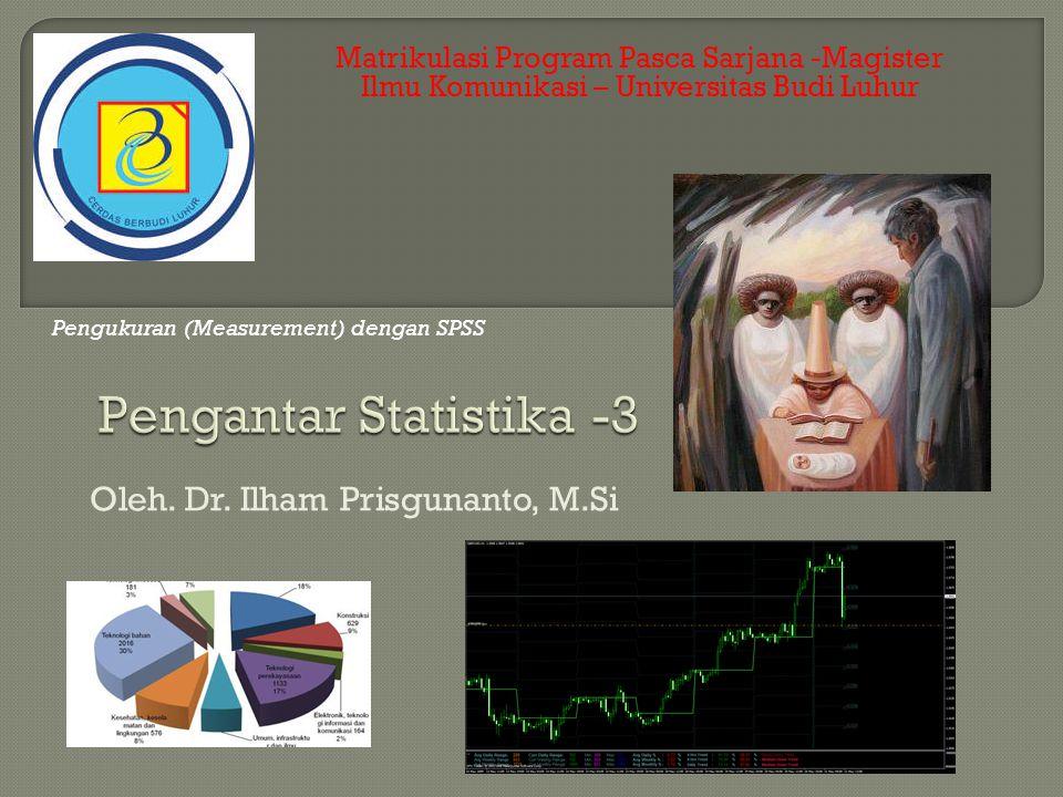 Matrikulasi Program Pasca Sarjana -Magister Ilmu Komunikasi – Universitas Budi Luhur Oleh. Dr. Ilham Prisgunanto, M.Si Pengukuran (Measurement) dengan