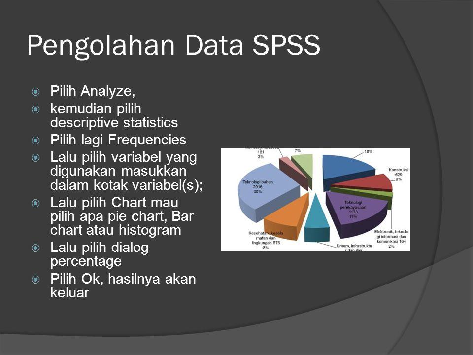Pengolahan Data SPSS  Pilih Analyze,  kemudian pilih descriptive statistics  Pilih lagi Frequencies  Lalu pilih variabel yang digunakan masukkan dalam kotak variabel(s);  Lalu pilih Chart mau pilih apa pie chart, Bar chart atau histogram  Lalu pilih dialog percentage  Pilih Ok, hasilnya akan keluar