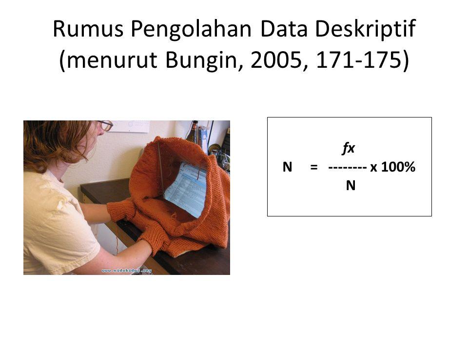 Rumus Pengolahan Data Deskriptif (menurut Bungin, 2005, 171-175) fx N = -------- x 100% N