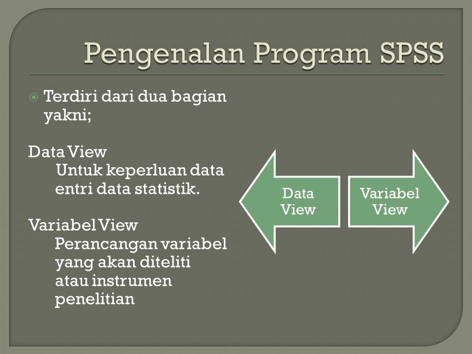  Terdiri dari dua bagian yakni; Data View Untuk keperluan data entri data statistik. Variabel View Perancangan variabel yang akan diteliti atau instr