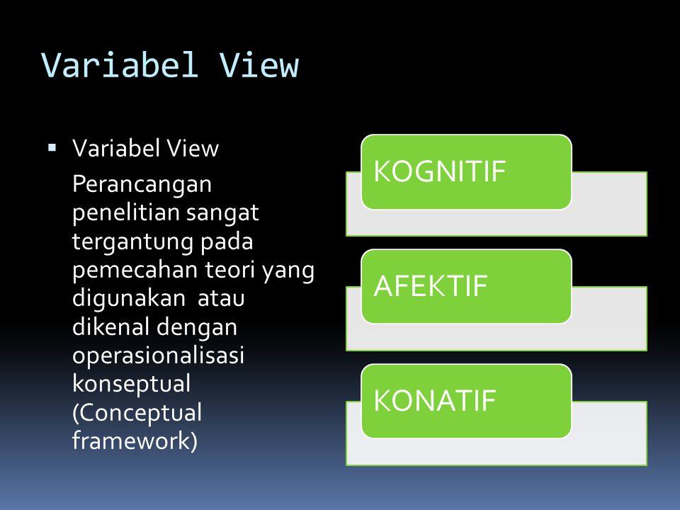  Variabel View Perancangan penelitian sangat tergantung pada pemecahan teori yang digunakan atau dikenal dengan operasionalisasi konseptual (Conceptual framework) KOGNITIFAFEKTIFKONATIF
