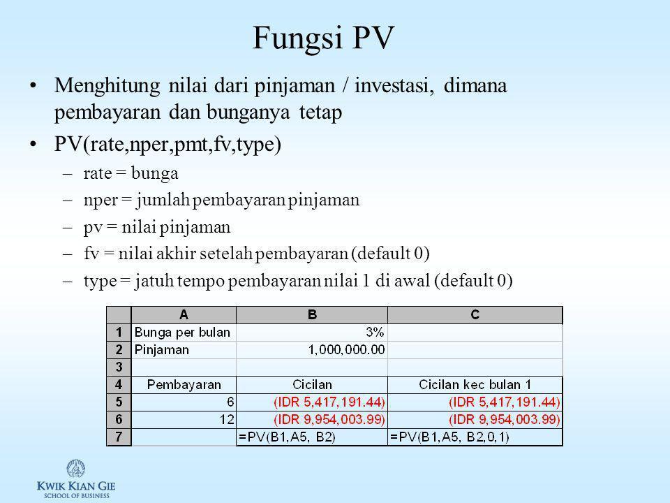 Fungsi PMT Menghitung pembayaran dari pinjaman, dimana pembayaran dan bunganya tetap PMT(rate,nper,pv,fv,type) –rate = bunga –nper = jumlah pembayaran