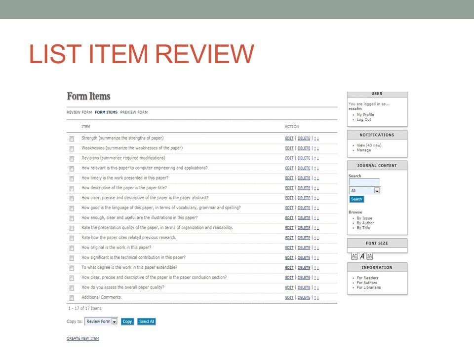 LIST ITEM REVIEW