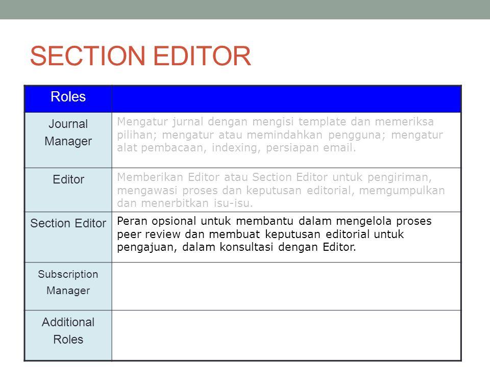 SECTION EDITOR Roles Journal Manager Mengatur jurnal dengan mengisi template dan memeriksa pilihan; mengatur atau memindahkan pengguna; mengatur alat pembacaan, indexing, persiapan email.