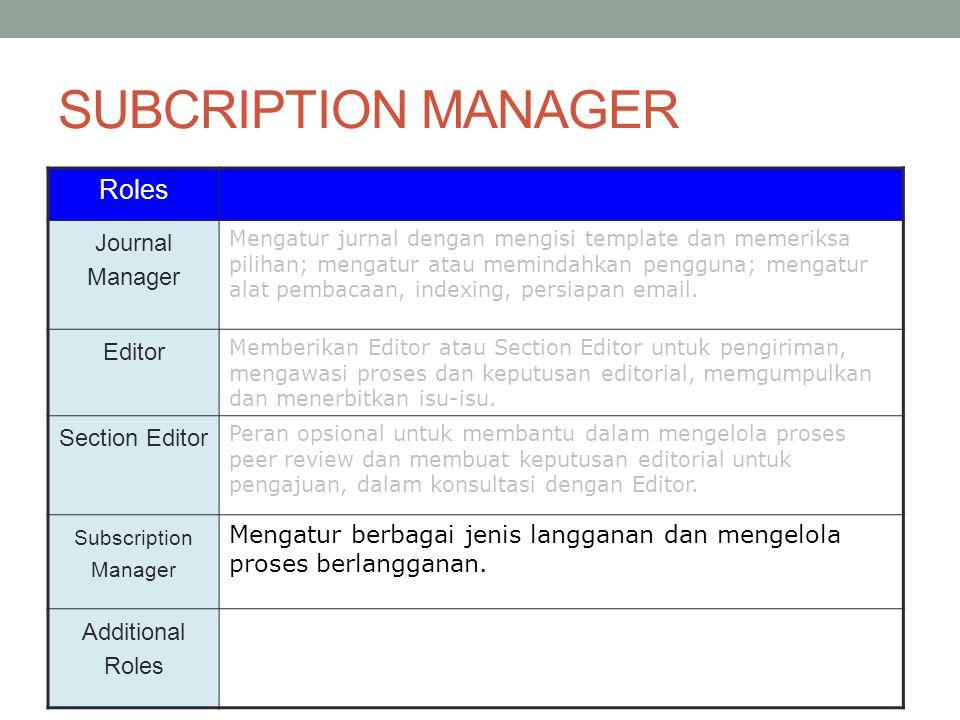 Roles Journal Manager Mengatur jurnal dengan mengisi template dan memeriksa pilihan; mengatur atau memindahkan pengguna; mengatur alat pembacaan, indexing, persiapan email.