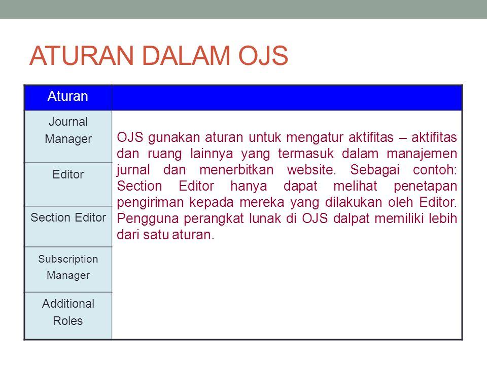 Aturan Journal Manager OJS gunakan aturan untuk mengatur aktifitas – aktifitas dan ruang lainnya yang termasuk dalam manajemen jurnal dan menerbitkan website.